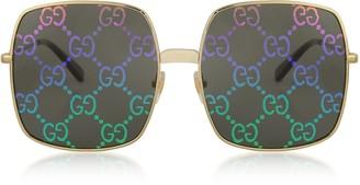 Gucci Rectangular-frame Metal Sunglasses w/ GG Pattern Lenses