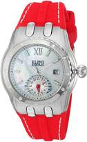 Elini Barokas Women's 'Genesis Vision' Swiss Quartz Stainless Steel and Silicone Automatic Watch, Red (Model: 20029-02-RDS)