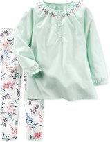 Carter's 2-Pc. Embroidered Tunic & Floral-Print Leggings Set, Baby Girls