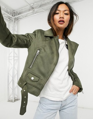 Sixth June biker jacket in beige