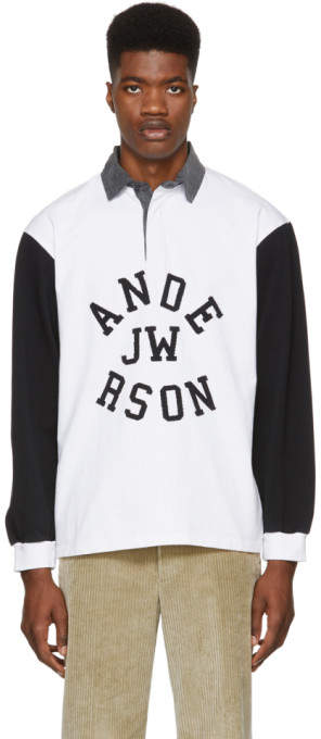 J.W.Anderson Black and White Rugby Long Sleeve Polo