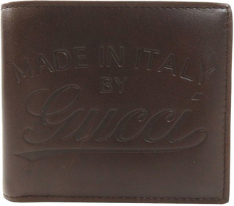 Gucci Brown Leather Logo Bi-fold Wallet