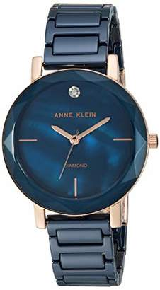 Anne Klein Women's AK/3364NVRG Diamond-Accented Rose Gold-Tone and Navy Blue Ceramic Bracelet Watch