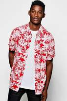 boohoo Red Floral Print Short Sleeve Shirt red