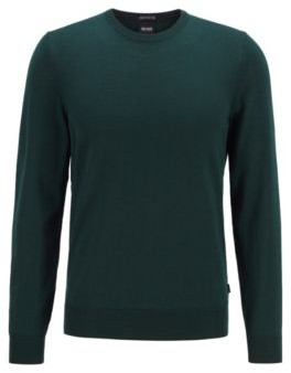 HUGO BOSS Crew Neck Sweater In Italian Virgin Wool - Silver