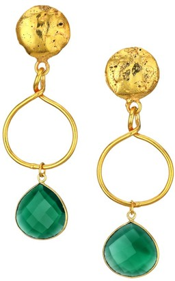 Sylvia Toledano Eclipse 22K Goldplated & Green Onyx Charm Hoop Earrings