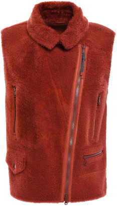 Brunello Cucinelli Leather-trimmed Bead-embellished Shearling Biker Vest