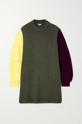 Loewe Oversized Color-block Wool Sweater - Gray