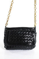 Big Buddha Black Woven Patent Leather Gold Tone Chain Clutch Handbag