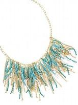 Turquoise Seed Bead Fringe Necklace
