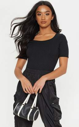 PrettyLittleThing Petite Black Ribbed Scoop Neck Body