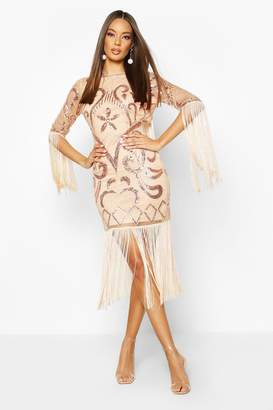 boohoo Open Back Fringed All Over Sequin Dress