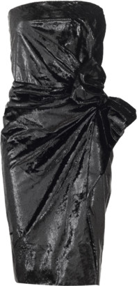 Lanvin Strapless Velour Lame Dress