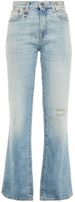 R 13 Colleen Distressed High-rise Straight-leg Jeans