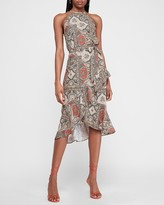 Express Paisley High Neck Ruffle Fit And Flare Dress