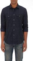 John Varvatos Men's Checked Cotton Dress Shirt-BLACK