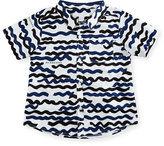 Burberry Tyson Brushstroke Poplin Shirt, Navy, Size 12 Months