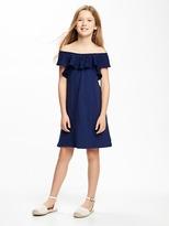 Old Navy Eyelet-Ruffled Slub-Knit Swing Dress for Girls
