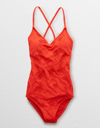 aerie Jacquard Strappy Back One Piece Swimsuit