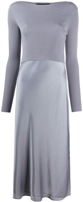 AllSaints Ribbed-Panelled Satin Dress