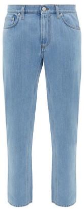Burberry Logo-patch Straight-leg Jeans - Mens - Light Blue