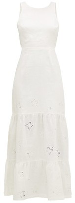 Sir - Alena Broderie-anglaise Open-back Linen Dress - White