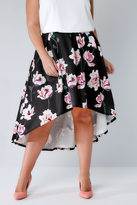Yours Clothing Black & Multi Watercolour Floral Print Hi-Lo Skirt