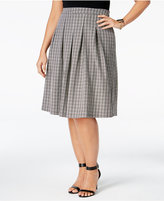 NY Collection Plus Size Check-Print Pleated Fit & Flare Skirt