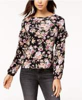 Ultra Flirt Juniors' Ruffled-Sleeve Top