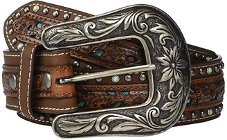 Nocona M&F Western Pierced Center Overlay w/ Studded Edges Belt (Brown/Turquoise) Women's Belts