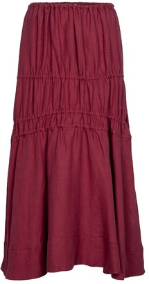Brock Collection Susanna ruched linen midi skirt
