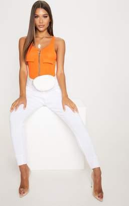 PrettyLittleThing Tangerine Rib Pocket Zip Front Thong Bodysuit