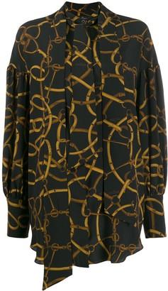 Rokh Chain Print Long-Sleeve Blouse