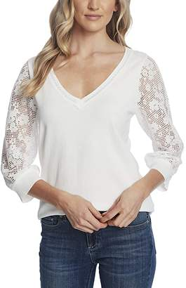 CeCe Long Sleeve V-Neck Sweater with Floral Lace Sleeve (Soft Ecru) Women's Clothing