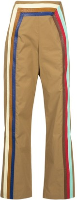 Rosie Assoulin Walk the Plank leather-trimmed flared trousers