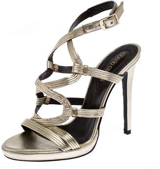 Roberto Cavalli Gold Leather Strappy Platform Sandals Size 37