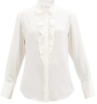 Frame Ruffled Silk-crepe Shirt - White