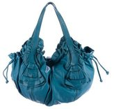 Valentino Ruffle-Trimmed Leather Hobo