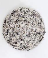 Steve Madden Ivory & Gray Variegated Knit Pom-Pom Beret