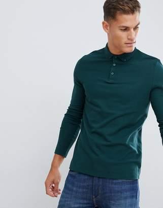 Asos Design DESIGN long sleeve polo in pique with button down collar in khaki-Green