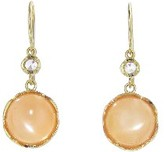 Irene Neuwirth Small Cabochon Peach Moonstone Earrings - Yellow Gold