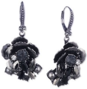 Marchesa Hematite-Tone Crystal & Imitation Pearl Flower Drop Earrings