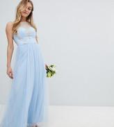 Bardot Chi Chi London Petite Neck Sleeveless Maxi Dress with Premium Lace and Tulle Skirt
