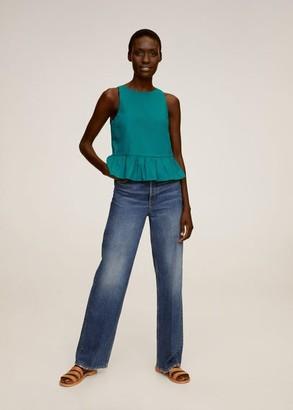 MANGO Ruffled poplin blouse emerald green - 2 - Women
