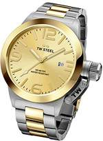 TW Steel Canteen Unisex Quartz Watch with Gold Dial Analogue Display and Silver Stainless Steel Bracelet CB51