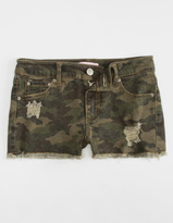 Almost Famous Camo Cut Off Girls Denim Shorts