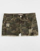 Almost Famous Camo Cut Off Girls Denim Shorts