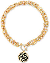 GUESS Gold-Tone Large Link Animal-Look Toggle Pendant Necklace