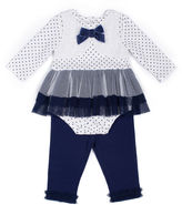 Little Lass 2-pc. Ivory Rosette Leggings Set - Baby Girls 3m-24m