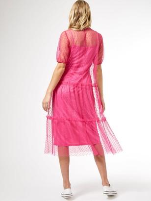 Dorothy Perkins Mesh Spot Tiered Midi Dress- Pink